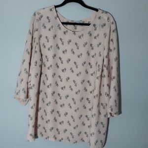 Paraphrase 3 quarter sleeve pink bicycle blouse